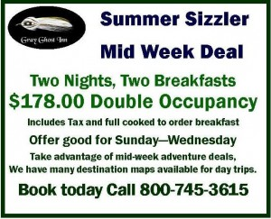 Gray Ghost Inn Summer Mid Week Discount Stay deal 2015