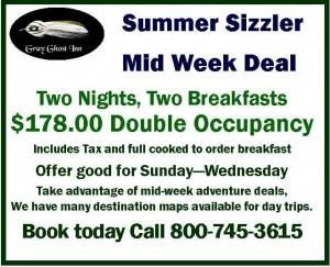 Gray Ghost Inn Summer Mid Week Discount Stay deal 2015