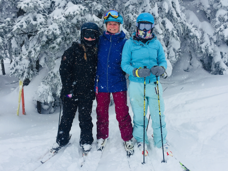 Carina and Daughters Skiing